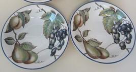"Pier 1 MacIntosh 8 3/8"" Cereal Soup Salad Bowls Grapes Pears Fruits Blue... - $21.77"
