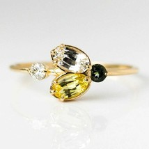 Natural Citrine Crystal Gemstone Engagement and Wedding 14 k Rose Gold Ring - $206.74