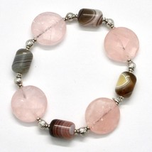 Armband 925 Silber Laminat aus Gold Pink mit Quarz Rosa und Chalcedon - $92.46