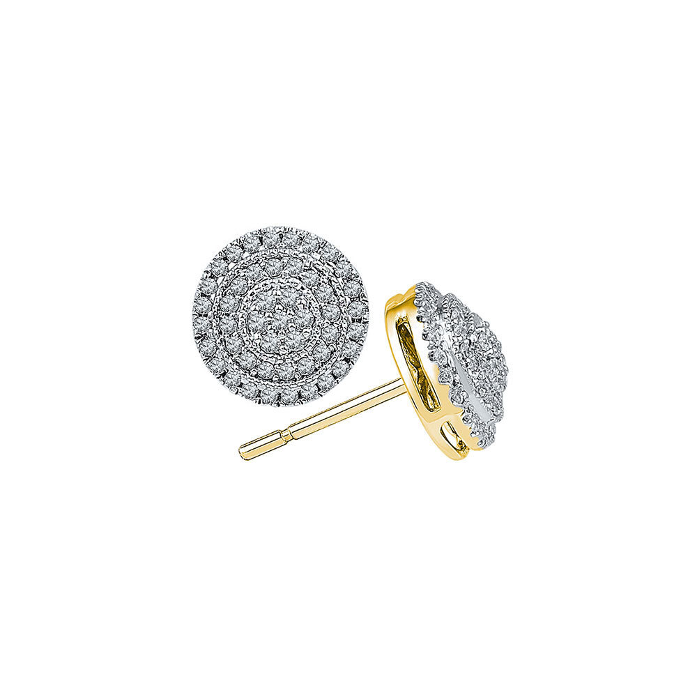 Concentric Circle Earrings: 10k Yellow Gold Round Diamond Concentric Circle Frame