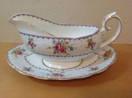Royal Albert Petit Point Gravy Boat & Underplate Needlepoint Floral England - $74.79