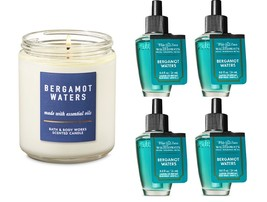5 Pc Bath & Body Works White Barn Bergamot Waters Candle  Wallflower Refill Bulb - $31.50