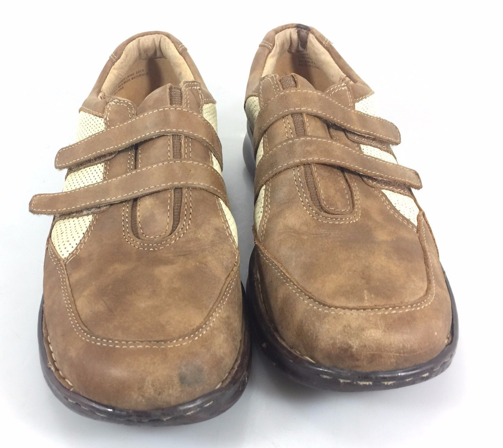 Sofft Walking Shoes 8M Womens Brown Leather & Tan Mesh