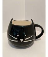 Unique Modern Black Feline Cat Face Ceramic Coffee Tea Mug New - $19.75