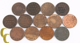 1881-1917 Canada 1 Cent Lot (F-BU, 13 coins) Large Penny One 1c KM-7 8 21 - $188.10