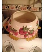 Handpainted Ceramic Turtle with Strawberries Planter Container Holder Va... - $18.99
