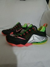 Nike Lebron 12 Low Remix Basketball Shoes 8.5, Men's Black & Green 72455... - $59.39