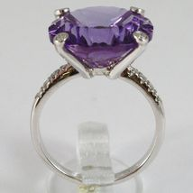 White Gold Ring 750 18K, with Amethyst round CT 11.5, and Diamonds CT 0.21 image 4