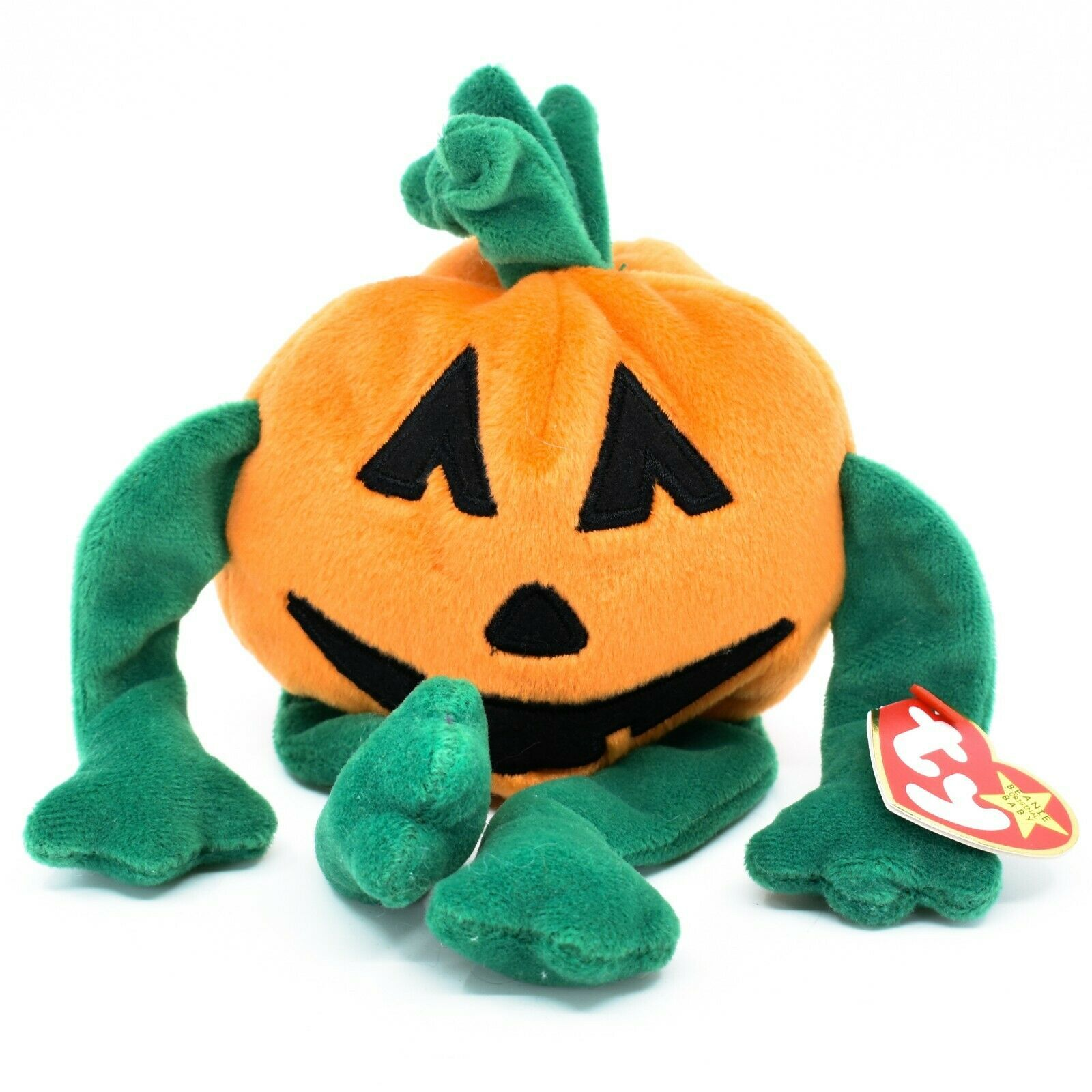 1998 TY Beanie Baby Original Pumkin Pumpkin Halloween Jack-O-Lantern Plush Toy