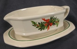 Pfaltzgraff Christmas Heritage Gravy Boat with Underplate Stoneware  - $39.95