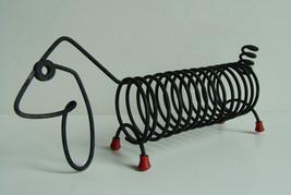 Spring Weiner Dog Mid Century Dachshund Black Wire Desk Letter Holder Re... - $31.60