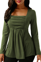 Army Green Square Neckline Ruched Long Sleeve Blouse  - $18.74