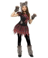 Fun World Wild Wolfie Pelo Punk Goth Bambini Costume Halloween 119542 - $29.39