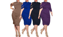 Women's Plus Size Elegant Ruched Bodycon Party Cocktail Dress - $29.99