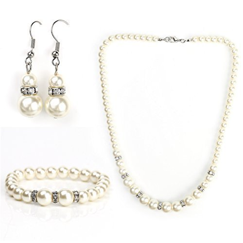 UNITED ELEGANCE Timeless Faux Pearl & Crystal Set, Necklace, Earrings & Bracelet