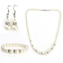 UNITED ELEGANCE Timeless Faux Pearl & Crystal Set, Necklace, Earrings & ... - $22.99
