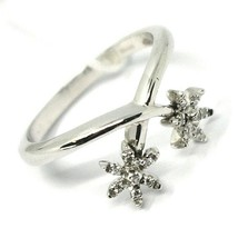 SOLID 18K WHITE GOLD RING, CENTRAL DOUBLE SNOWFLAKE FLOWER WITH DIAMONDS image 1