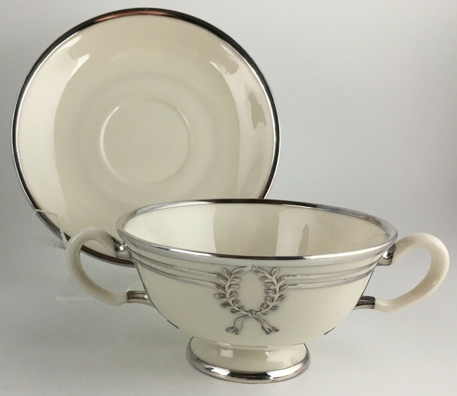 Lenox Belleek L103 Bouillon bowl & saucer / Silver overlay