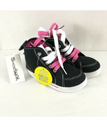 ShoeShox Toddler Girls Sneakers Hi Top Canvas Lace Up Black White Pink S... - $14.50