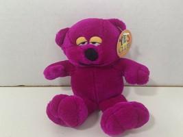 A&A Yes Club vintage small plush teddy bear purple pink magenta plastic eyes - $9.89