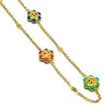 Bracelet Yellow Gold 18k 750, for Girl, Three Flowers Enamelled, Daisy, 17 Cm image 2