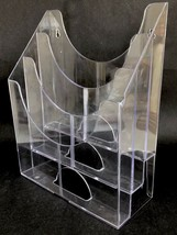 "Clear Acrylic Magazine Rack Organizer Holder 12"" Vtg Wall Mount Counter Top - $14.84"