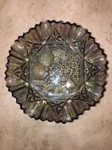 "Iridescent Fruit Themed Glass Bowl Dish 10"" Grapes Etc - $29.70"