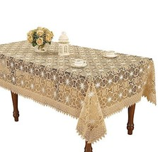 Simhomsen Beige Embroidered Lace Tablecloth 60 × 120 Inch Rectangle - $62.33