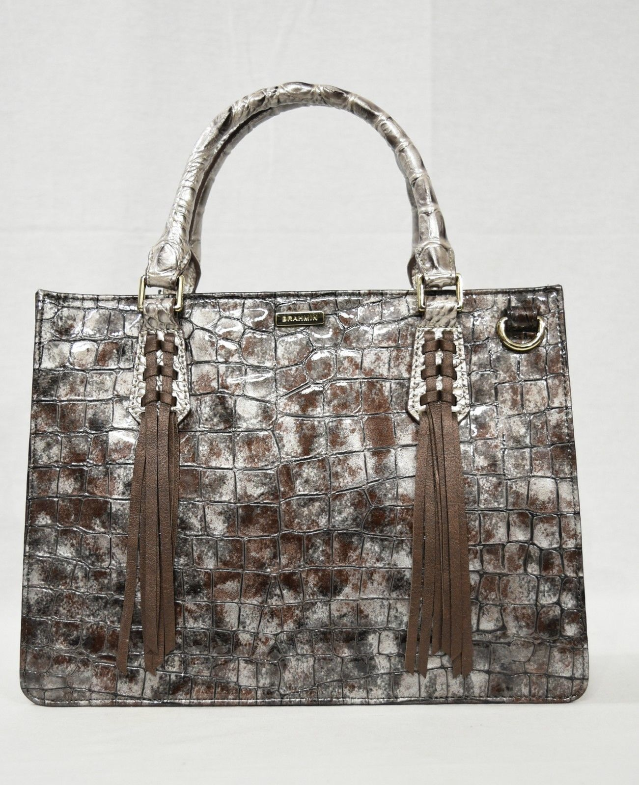 NWT Brahmin Small Camille Leather Satchel/Shoulder Bag in Brown Charente image 3
