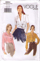 1999 Misses' LOOSE-FITTING BLOUSES Vogue Pattern 9994-v Sizes 20-22-24 -... - $14.00