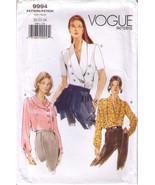 1999 Misses' LOOSE-FITTING BLOUSES Vogue Pattern 9994-v Sizes 20-22-24 - UNCUT - $14.00