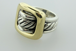 David Yurman 18K Gold & Silver Square Buckle Cable Band Ring Sz 7 Exc Co... - $436.49
