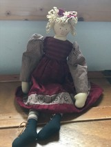 Used Hallmark Cards Country Doll in Red & Tan Gingham Dress Stiched with... - $8.59