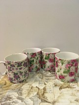 Vintage Set of Four Made in Japan, Porcelain Cups Chic Cottage Floral Cup - $14.00