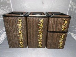 Vintage KROMEX 4 Piece Tin Canister Set Wood Grain Design w/Copper Lids ... - $42.06