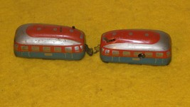 Vintage Tin Wind Up Toy Train Two Trolly Cars - M.I.Germany - $100.00