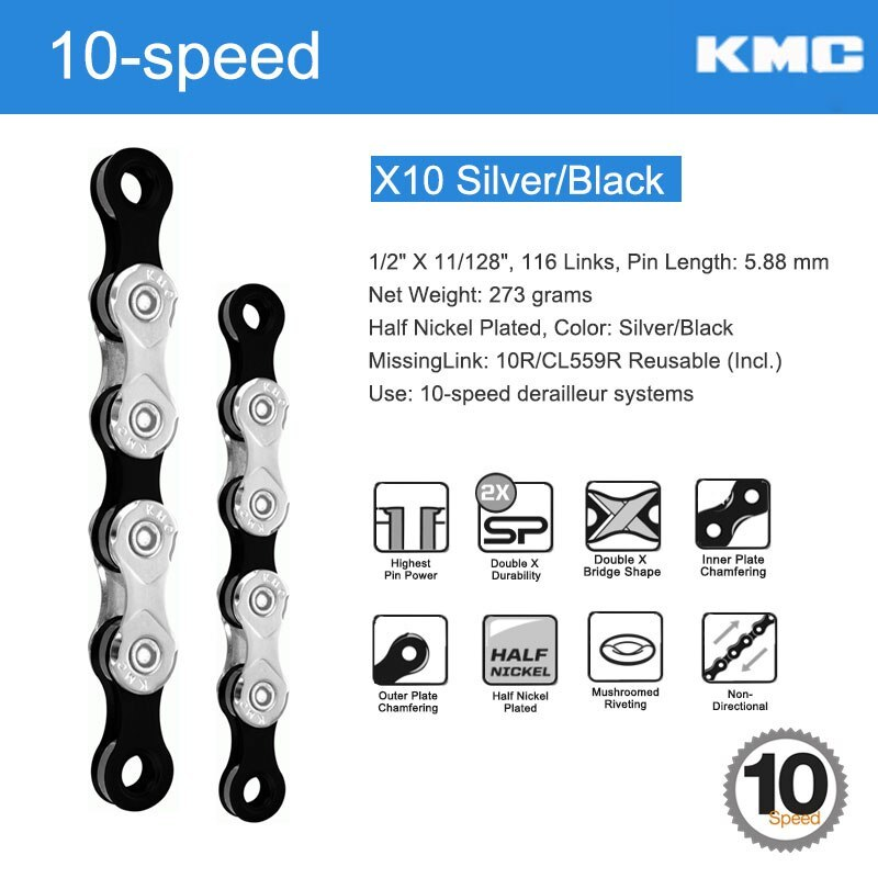 KMC Bicycle 10 Speed Chain W/ Original MissingLinks Connectors X10 Series X Brie - $122.44