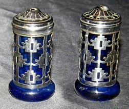 Cobalt Blue Glass Silver Metal Salt & Pepper Shakers AA20-2272 Vintage Collectib
