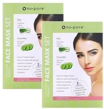 4 Packs Nu-pore Collagen Essence Fresh ALOE & CUCUMBER Facial Face Mask NEW - $9.99