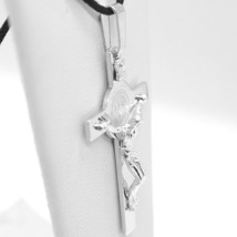 18K WHITE GOLD BIG CROSS WITH JESUS & SAINT BENEDICT MEDAL MADE IN ITALY, 44 mm image 2