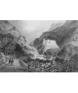 ITALY Fort Bard Val d'Aosta - 1864 Fine Quality Print Engraving - $49.50
