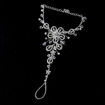 Crystal Floral Barefoot Sandal Bridal Foot Jewelry Beach Destination Wed... - $90.20+