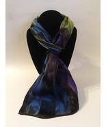 Hand Painted Silk Scarf Eggplant Purple Blue Olive Rectangle Neck Head G... - $56.00