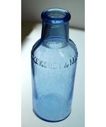 "Keasbey & Mattison Co Blue Medicine Bottle Ambler PA 6"" Tall Late 1800s - $5.00"
