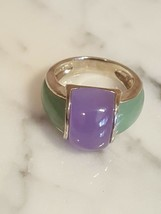 EA Signed Sterling Silver Green and Lavender Stone Ring  Size 8 - $39.99
