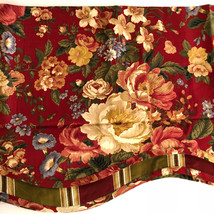 Waverly Valance Fairfield Cabernet Burgundy Villa Carlotta Floral Scallo... - $27.91