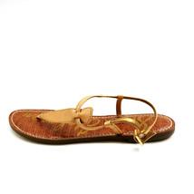 Sam Edelman Womens Gigi T-Strap Thong Sandals Leather Tan Sz 9M - $32.66