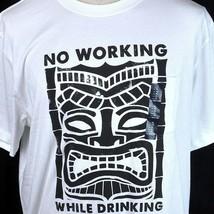 Tiki Print No Working While Drinking Pocket T-shirt XL Mens White Rum GAP New - $23.11