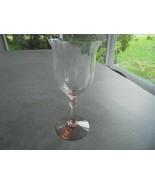 Heisey Fairacre Flamingo Pink Diamond Optic Water Goblet Signed - $19.80