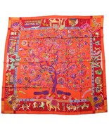 """Hermes Shawl Fantaisies indiennes 140 cm GM Silk 56"""" inch Scarf Red Carr... - $901.94"""